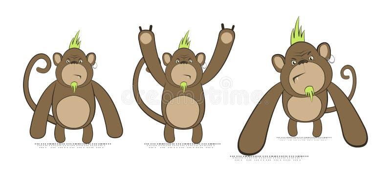 Sistema del vector de monos en estilo punky stock de ilustración