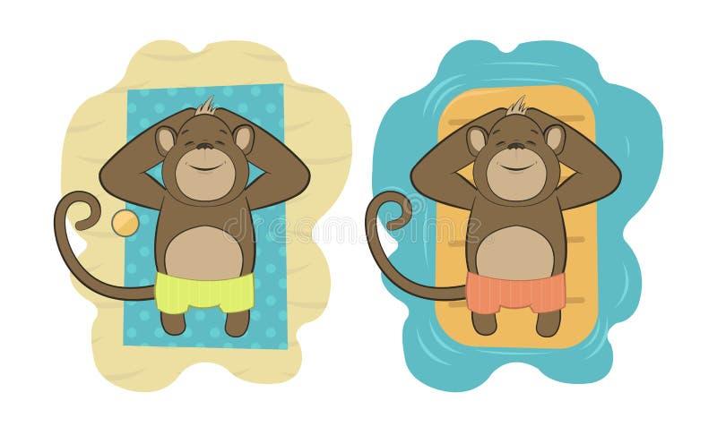 Sistema del vector de monos que se relajan en la playa libre illustration