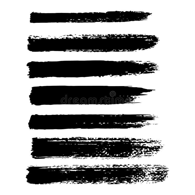 Sistema del vector de movimientos del cepillo del grunge Cepillos del aceite Vector stock de ilustración