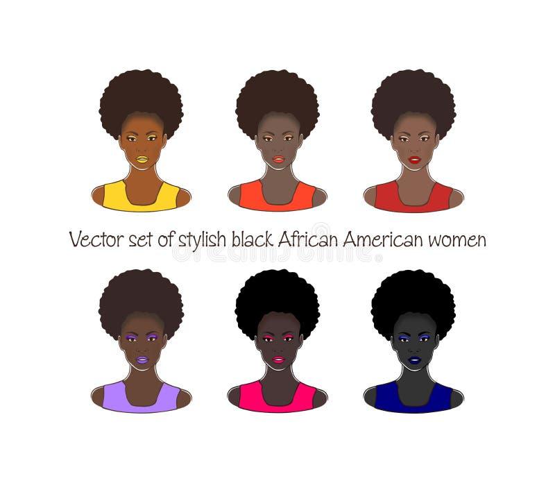 Sistema del vector de mujeres afroamericanas negras hermosas elegantes que dibujan el ejemplo stock de ilustración