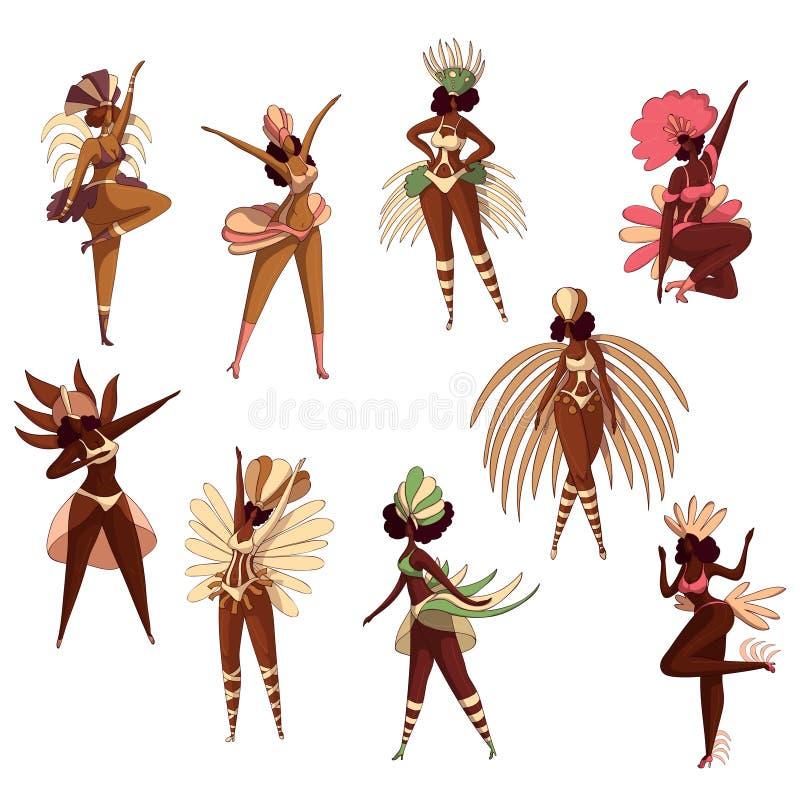 Sistema del vector de mujeres brasileñas en la acción de baile Bailarines de la samba Muchachas Latino Festival del Brasil Person stock de ilustración