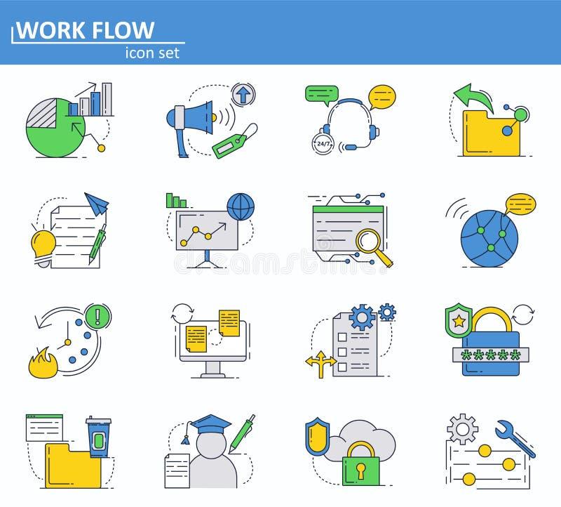 Sistema del vector de negocio, de finanzas y de iconos cibernéticos de la seguridad en la línea estilo fina Página web UI e icono stock de ilustración