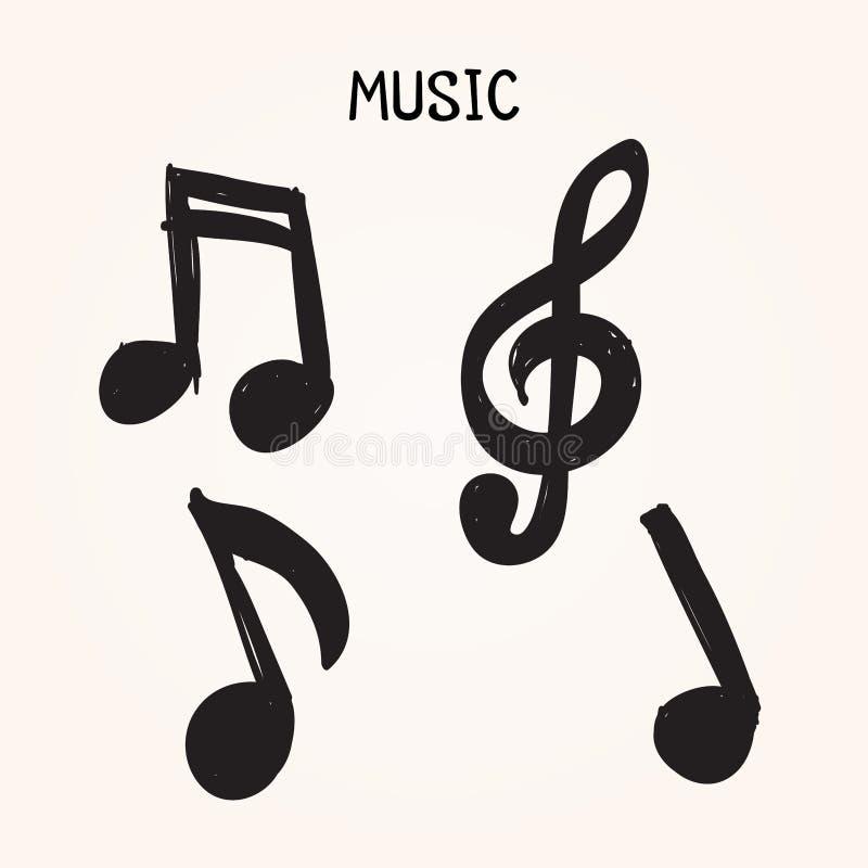 Sistema del vector de notas a mano de la música sobre el fondo blanco para el diseño, ejemplo del garabato stock de ilustración