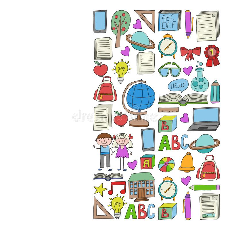 Sistema del vector de nuevo a iconos de la escuela en estilo del garabato Pintado, colorido, im?genes en un trozo de papel en el  libre illustration