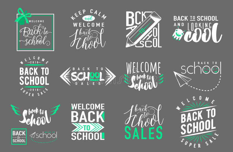 Sistema del vector de nuevo a la escuela, elementos styles retros de la venta stock de ilustración