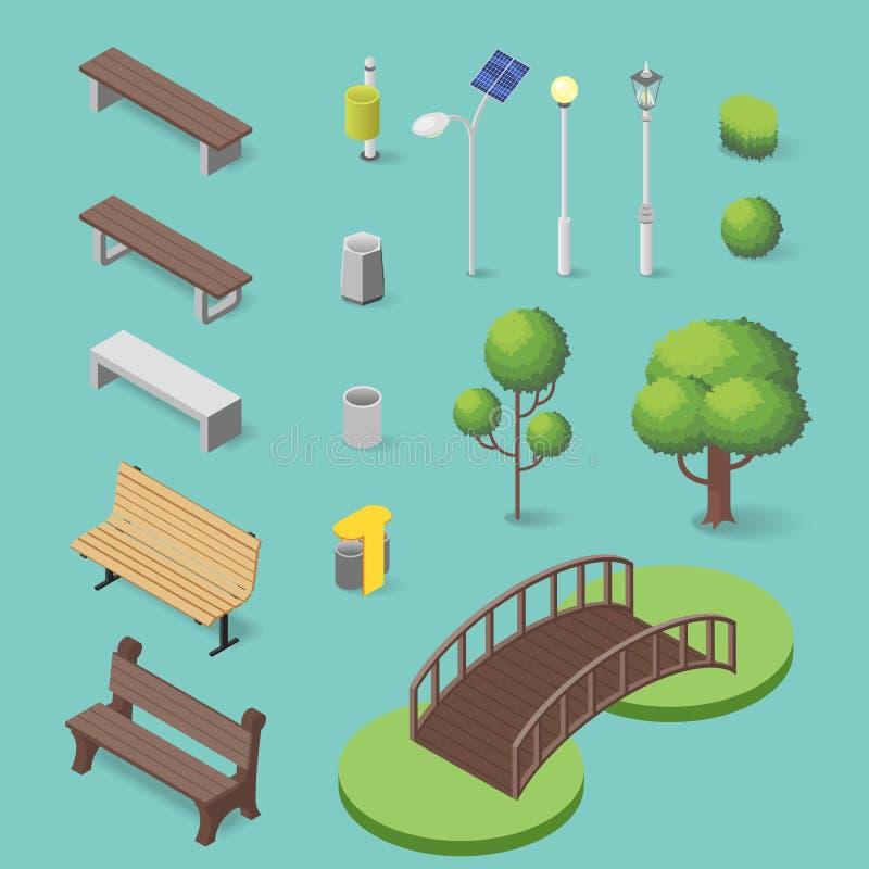 Sistema del vector de objetos isométricos del parque: banco, caja de la basura, árboles ilustración del vector