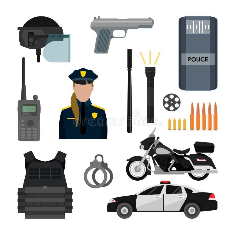 Sistema del vector de objetos y de equipo de la policía aislados en el fondo blanco Artículos del diseño, iconos stock de ilustración