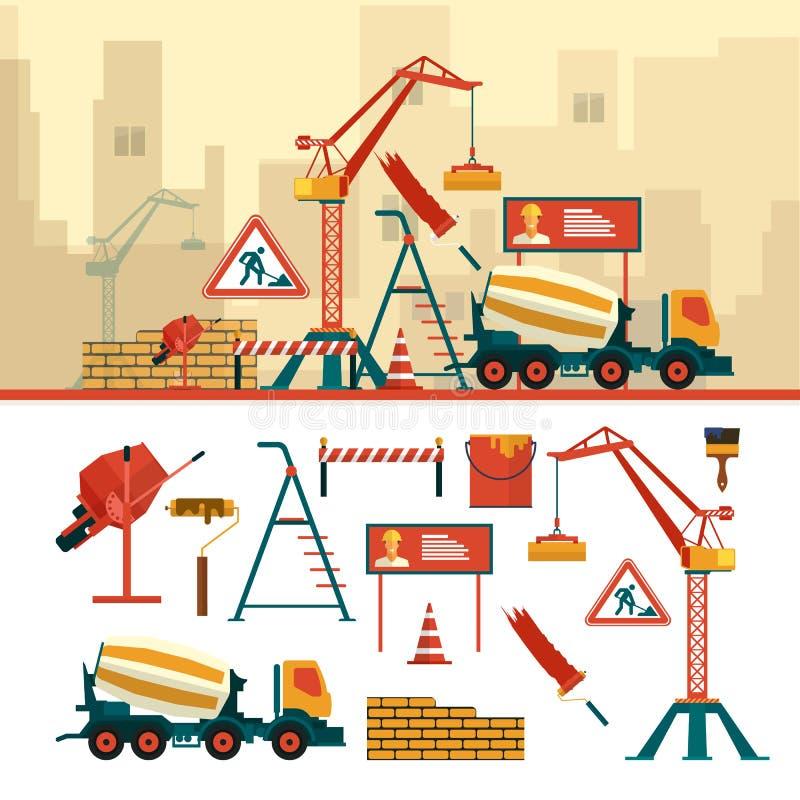Sistema del vector de objetos y de herramientas del emplazamiento de la obra aislados en el fondo blanco stock de ilustración