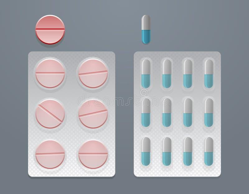Sistema del vector de píldoras y de paquetes de ampolla libre illustration
