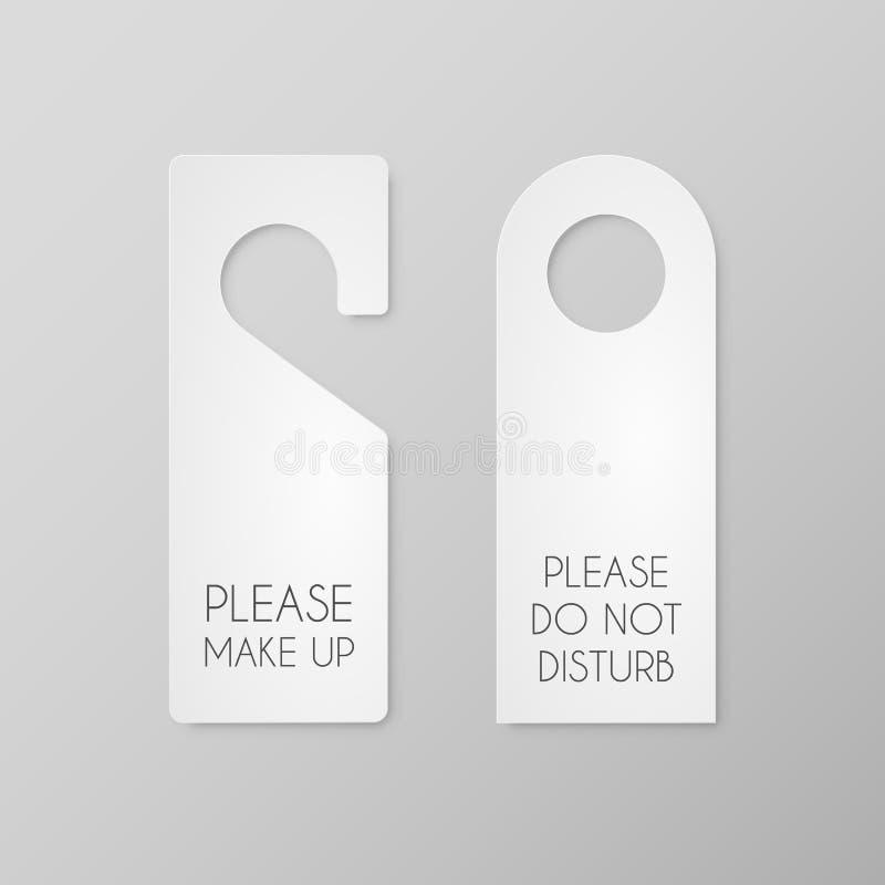 Sistema del vector de papel en blanco blanco Etiquetas de la suspensión de puerta del hotel aisladas en fondo gris stock de ilustración