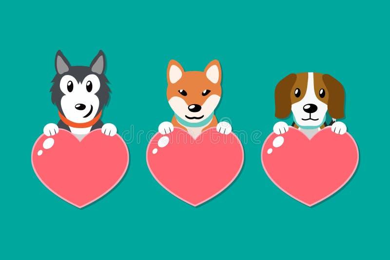 Sistema del vector de perros con las muestras del corazón ilustración del vector