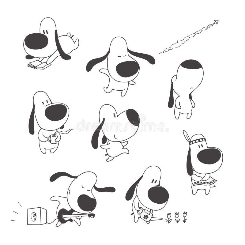 Sistema del vector de perros lindos aislados en blanco Ejemplos exhaustos de la mano del carácter animal divertido en estilo de l ilustración del vector