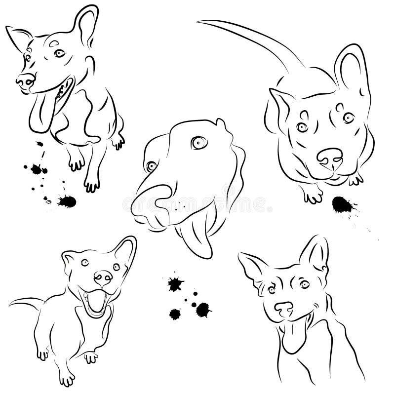 Sistema del vector de perros sonrientes stock de ilustración