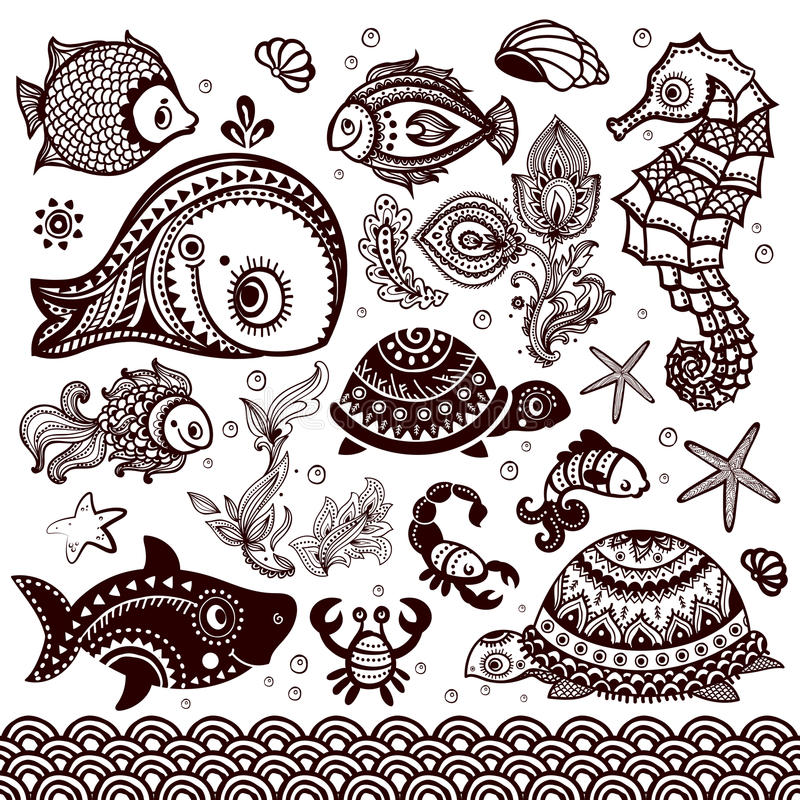 Sistema del vector de pescados y de flores con los ornamentos ilustración del vector