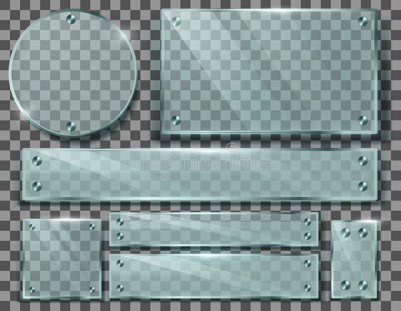 Sistema del vector de placas de cristal transparentes con los tornillos libre illustration