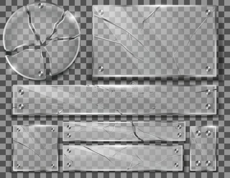 Sistema del vector de placas de cristal transparentes quebradas libre illustration