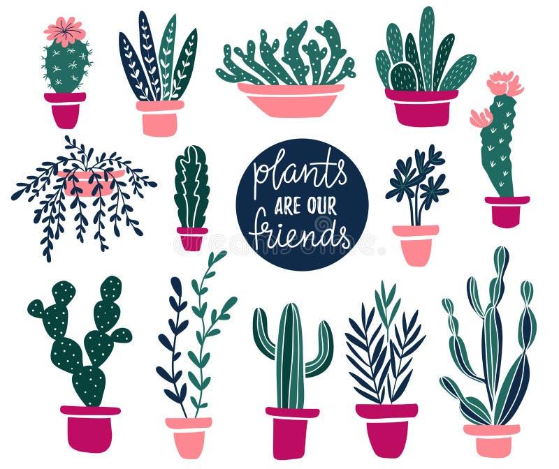 Sistema del vector de plantas tropicales de la casa en estilo escandinavo con el texto - las plantas son nuestros amigos libre illustration