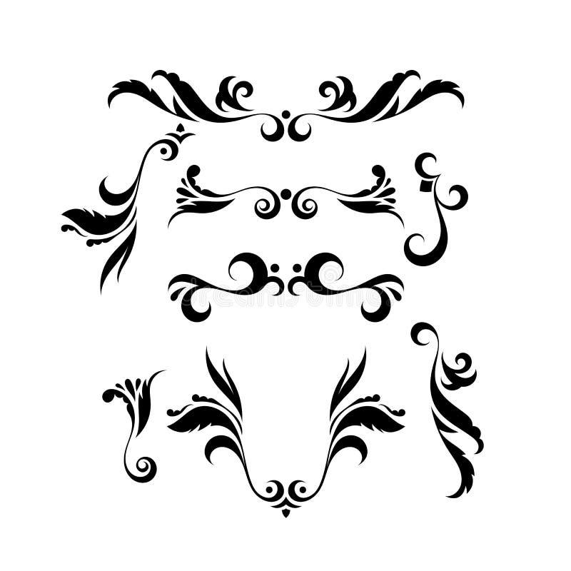 Sistema del vector de rizos elegantes y de remolinos Elementos para el diseño ilustración del vector