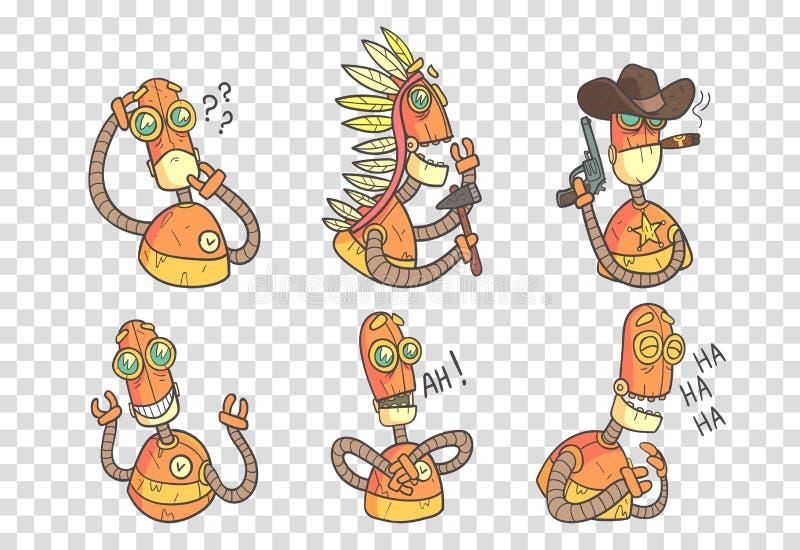 Sistema del vector de robots divertidos en estilo del esquema con el terraplén colorido Androide anaranjado con diversas emocione libre illustration