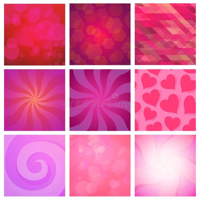 Sistema del vector de rojo del fondo de Abstracy y de color rosado para la celebración y los días de fiesta ilustración del vector