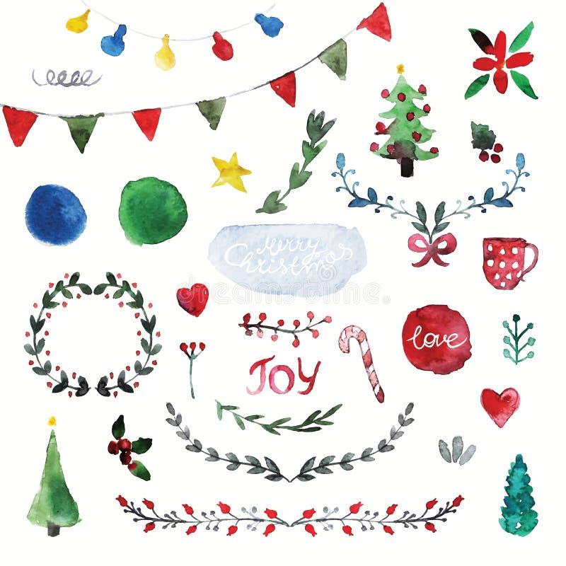 Sistema del vector de símbolos dibujados mano de la Navidad de la acuarela ilustración del vector