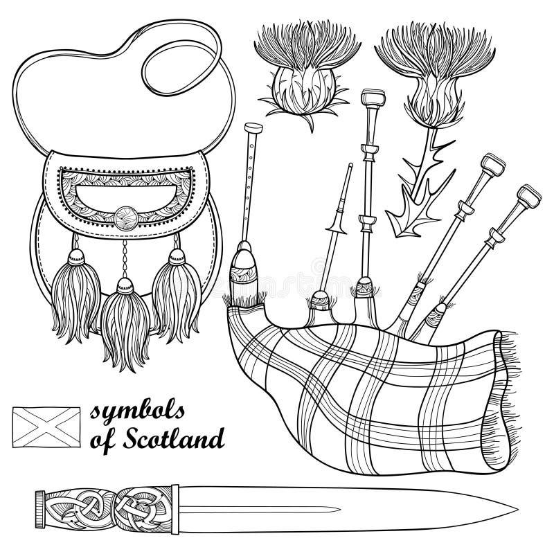 Sistema del vector de símbolos escoceses del esquema: daga o flor largas de la daga escocesa, de la gaita, de la escarcela de los stock de ilustración