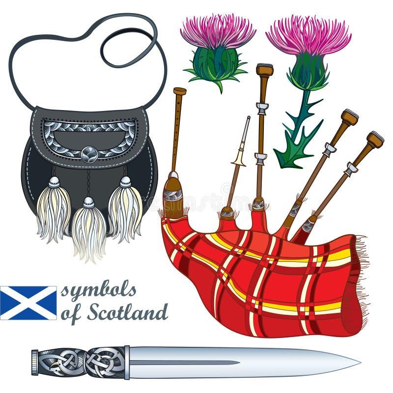 Sistema del vector de símbolos escoceses del esquema: la daga o la daga escocesa de plata larga, la gaita roja, la escarcela de l stock de ilustración