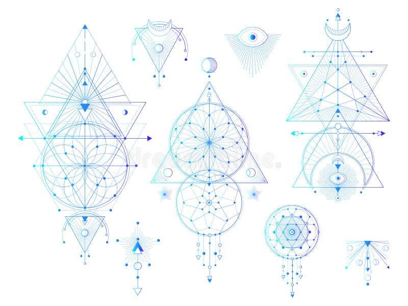 Sistema del vector de símbolos geométricos sagrados con la luna, ojo, flechas, dreamcatcher en el fondo blanco El místico abstrac ilustración del vector