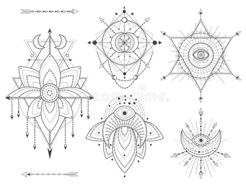Sistema del vector de símbolos geométricos y naturales sagrados en el fondo blanco El místico abstracto firma la colección ilustración del vector