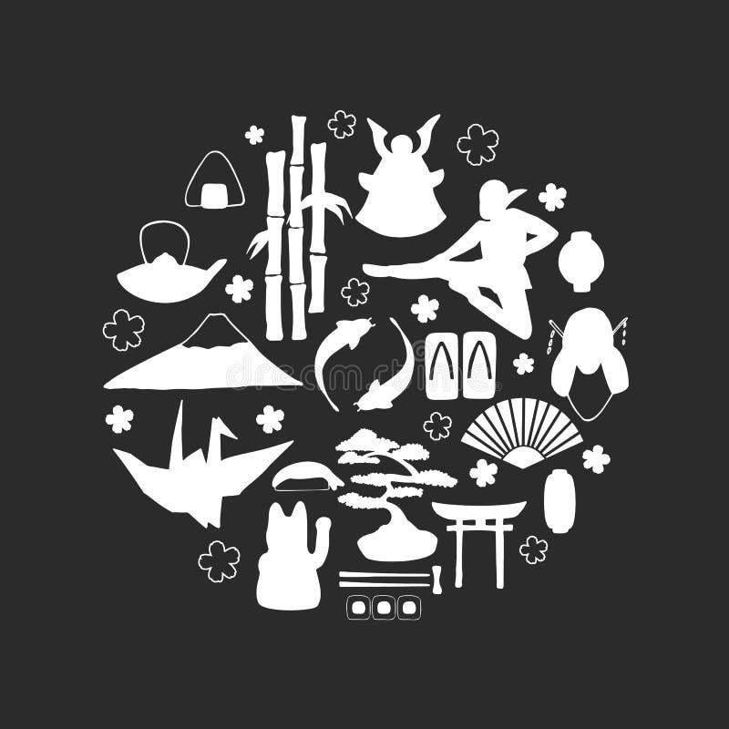 Sistema del vector de símbolos japoneses tradicionales en el tablero de tiza negro stock de ilustración