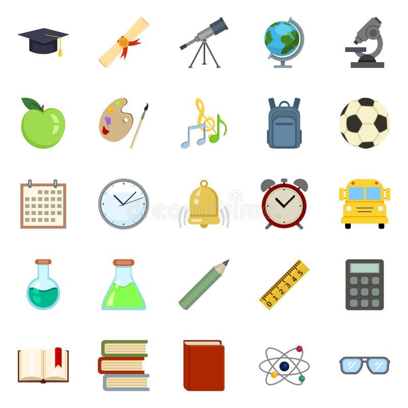 Sistema del vector de símbolos de la educación del color De nuevo a iconos de la escuela ilustración del vector