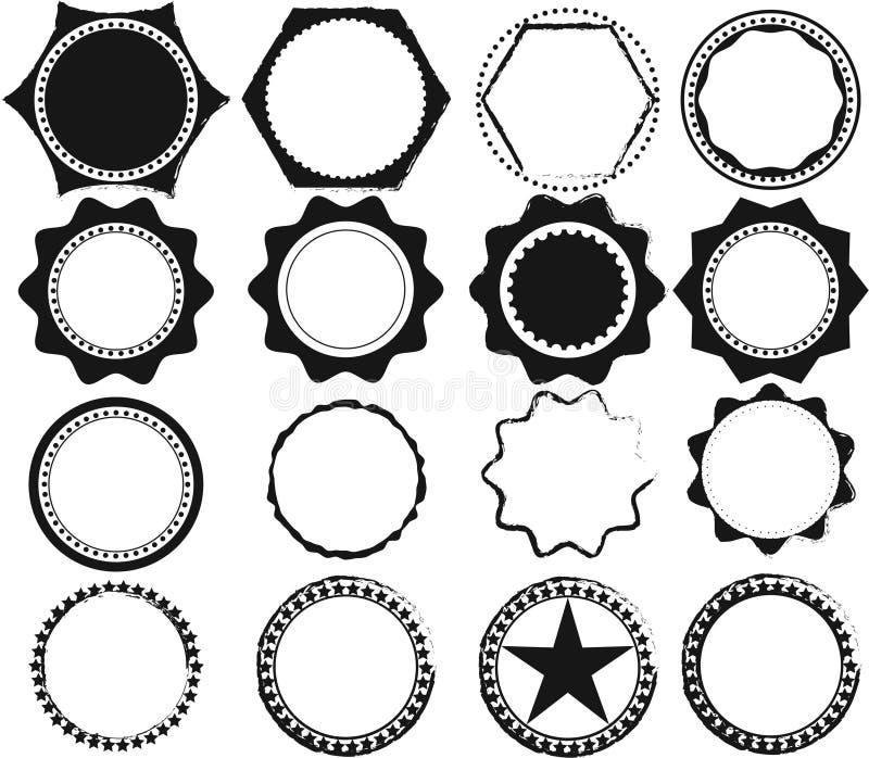 Sistema del vector de sellos y de insignias retros negros libre illustration