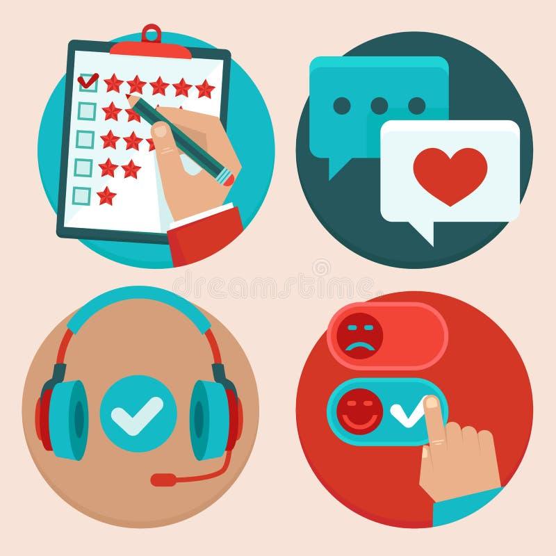 Sistema del vector de servicio de atención al cliente en estilo plano ilustración del vector