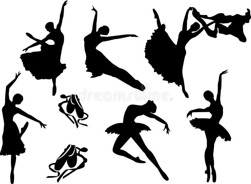 Sistema del vector de siluetas de los bailarines de ballet stock de ilustración