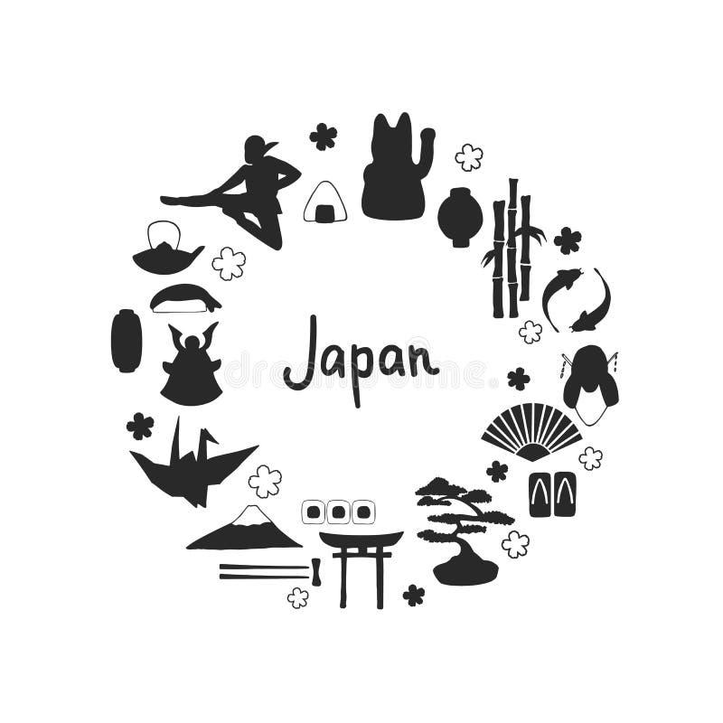 Sistema del vector de siluetas japonesas tradicionales a mano de los símbolos ilustración del vector