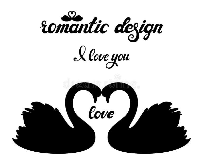 Sistema del vector de siluetas de los cisnes Amor y boda libre illustration