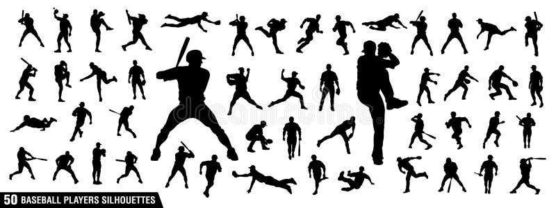 Sistema del vector de siluetas de los jugadores de béisbol stock de ilustración