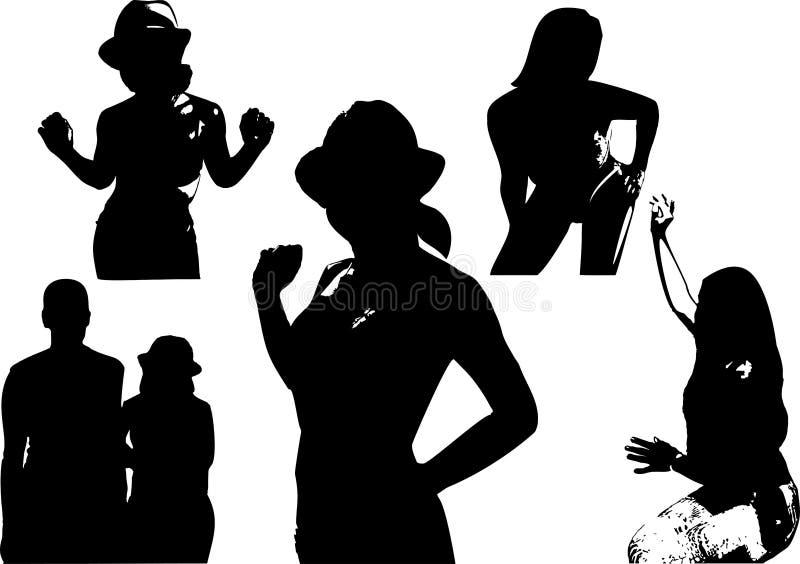 Sistema del vector de siluetas negras de una muchacha cintura-profunda en diversas actitudes ilustración del vector