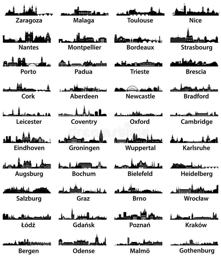 Sistema del vector de skilines europeos de la ciudad stock de ilustración