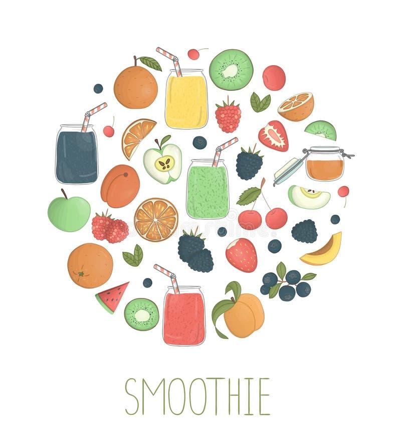 Sistema del vector de smoothies coloridos de la fruta y de la baya en los tarros de cristal con la fruta y las bayas enmarcadas e libre illustration