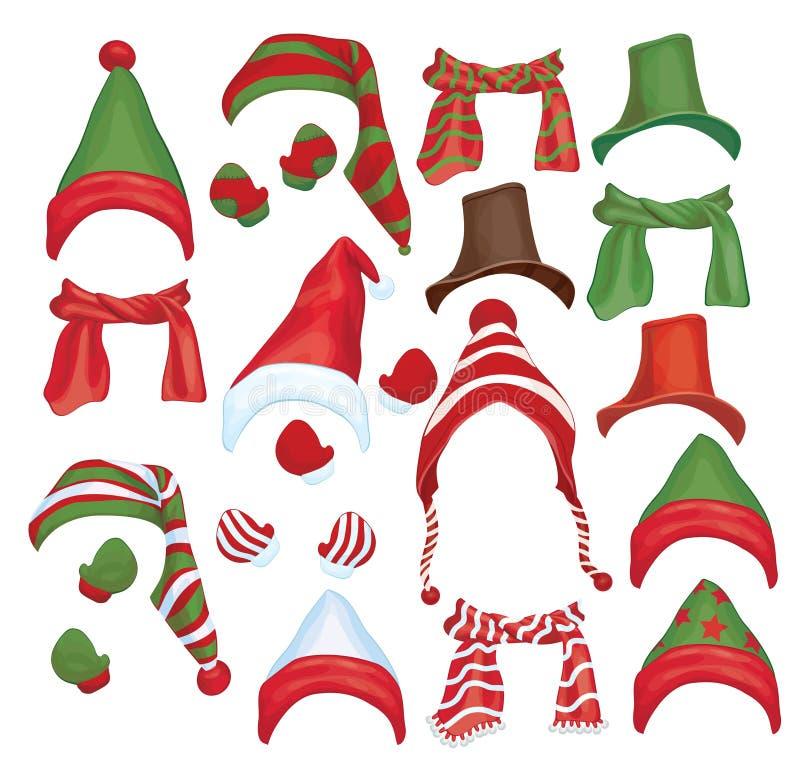 Sistema del vector de sombreros, de bufandas y de guantes para el diseño i stock de ilustración