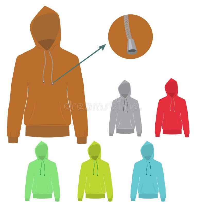 Sistema del vector de sudadera con capucha con diseño sólido y plano del color ilustración del vector