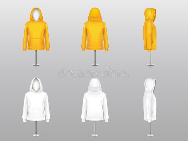 Sistema del vector de sudaderas con capucha realistas en maniquíes libre illustration