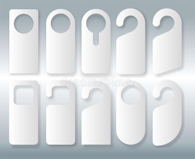 Sistema del vector de suspensiones de puerta únicas con la línea estilo de moda aisladas en el fondo blanco Maqueta de la suspens stock de ilustración
