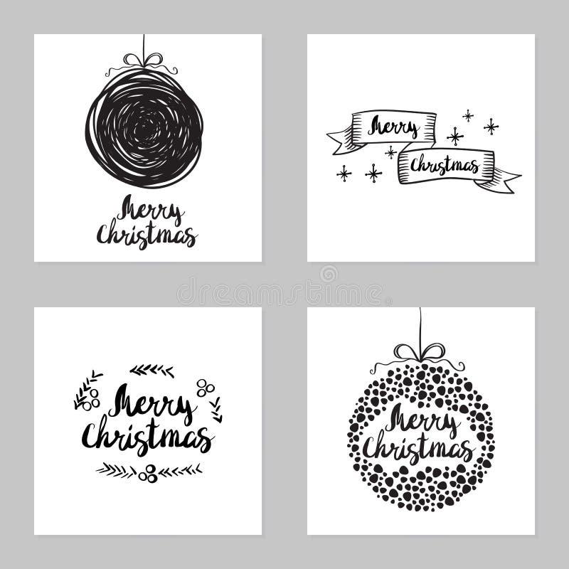 Sistema del vector de tarjetas de Navidad del saludo ilustración del vector