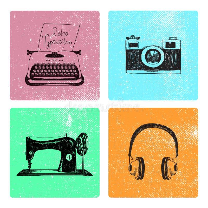Sistema del vector de tarjetas retras dibujadas mano del vintage con los objetos ilustración del vector