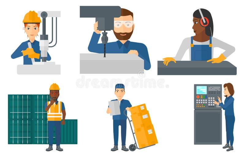 Sistema del vector de trabajadores industriales libre illustration