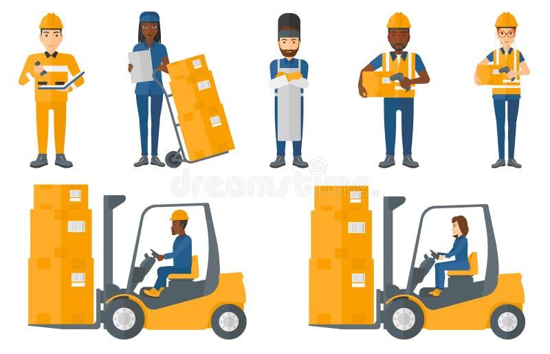 Sistema del vector de trabajadores industriales stock de ilustración