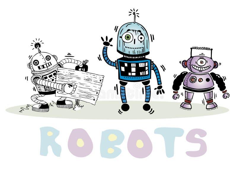 Sistema del vector de tres robots en un fondo blanco stock de ilustración