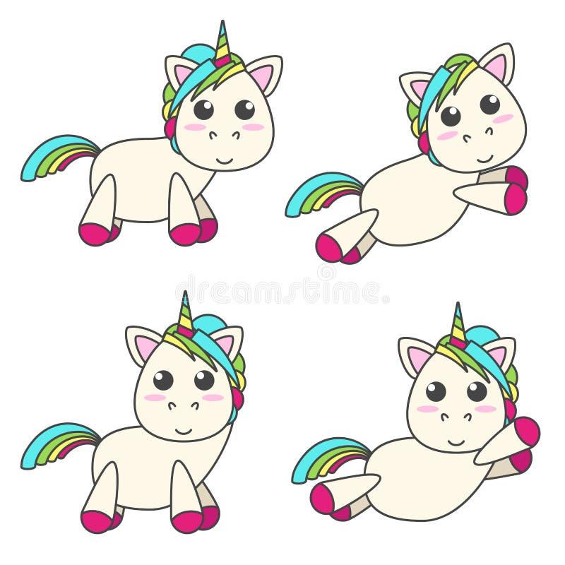 Sistema del vector de unicornios en cuatro diversas actitudes stock de ilustración
